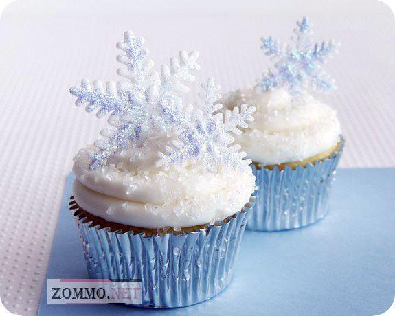 кексы со снежинками