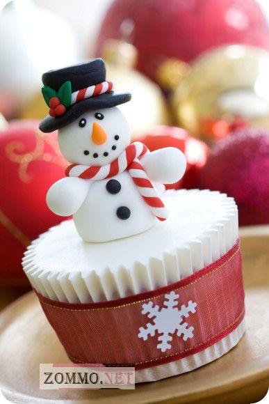 кексы со снеговиком