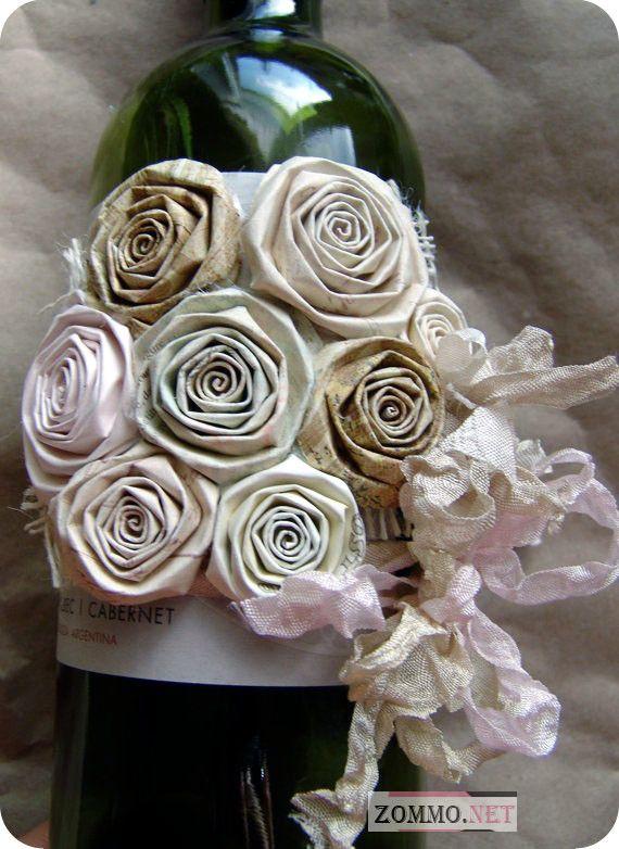 бутылка вина с розами