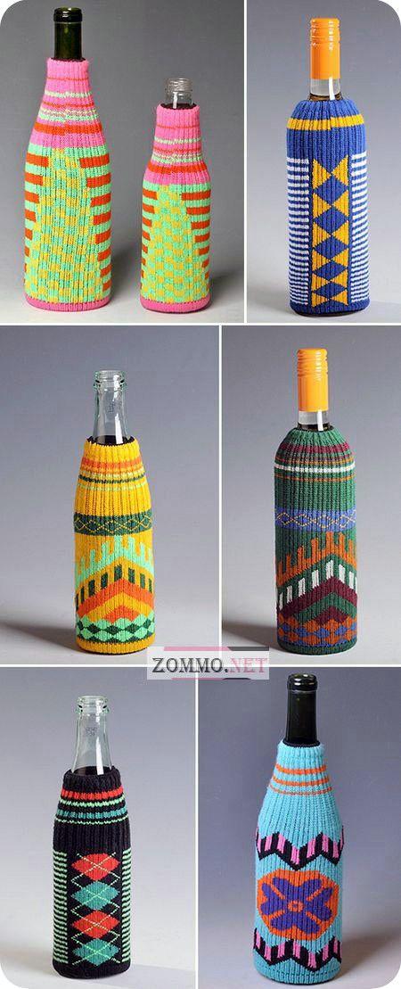 вязаные бутылки вина