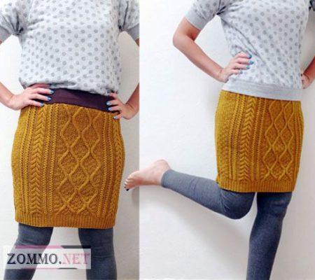 Идеи использования старого свитера - юбка
