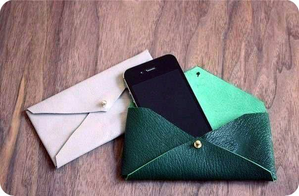 Кожаный чехол конверт для телефона