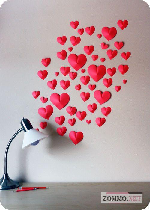 Объемные сердечки из бумаги на стену