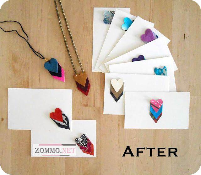 Ожерелье и поздравительная открытка из кожи