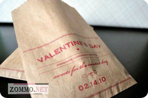 Бумажны пакет с принтом на день святого валентина