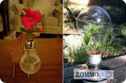 Подставка для цветов из лампочки