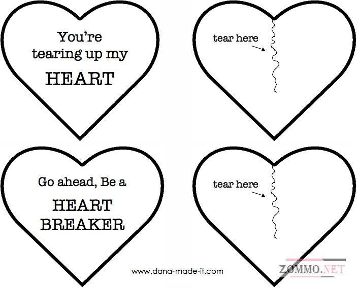 Шаблон валентинки в виде сердца