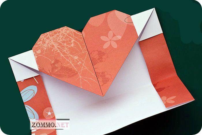 Как из бумаги сделать конверт с сердечком