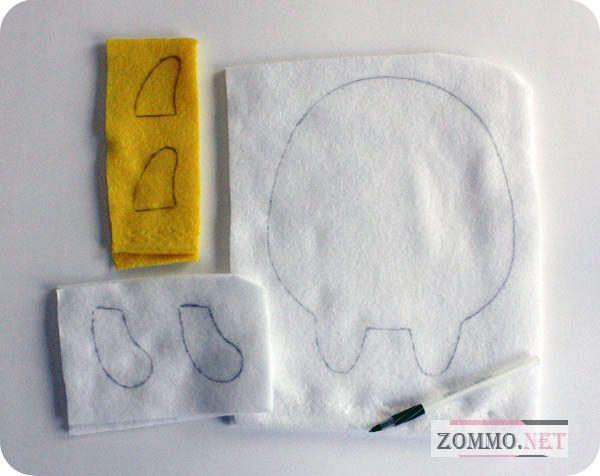 Рисуем детали для мягкой игрушки на флисе