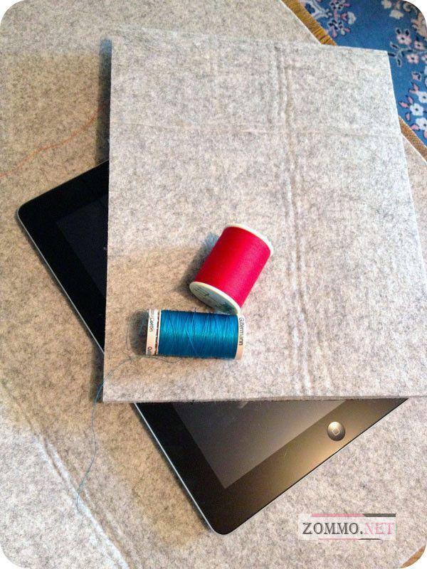 Нитки и фетр для чехла на планшет