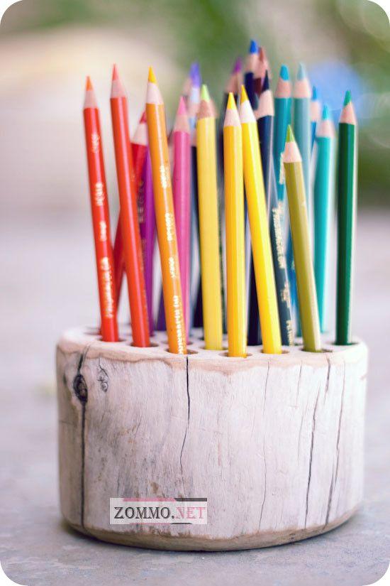 Деревянная подставка для карандашей