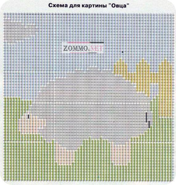 Схема для вышивки: овечка
