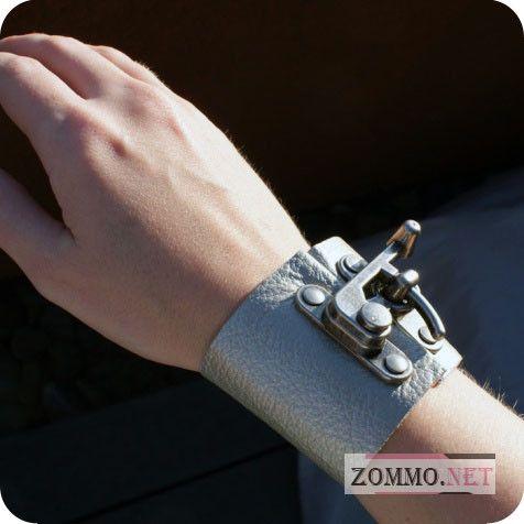 Серый кожаный браслет с застежкой