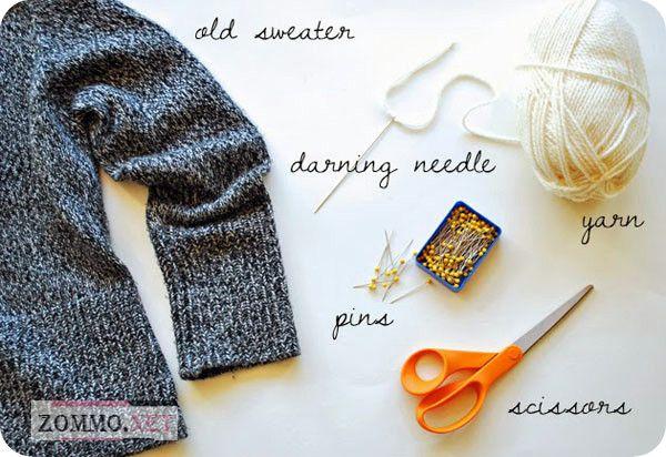 Материалы для того чтобы сшить носки из старого свитера