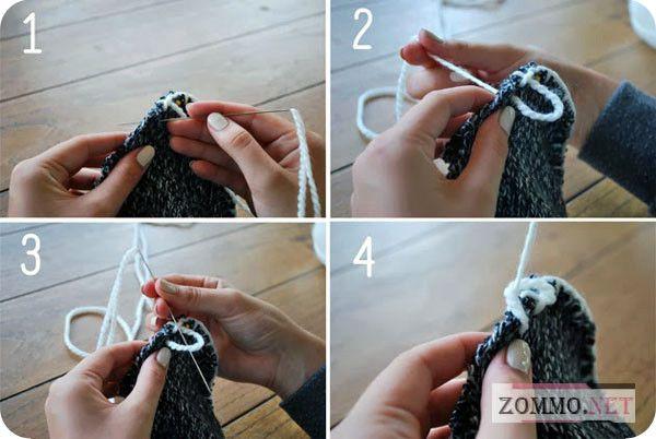 Сшиваем носки из старого свитера