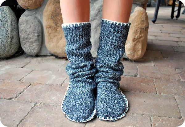Носки из старого свитера своими руками