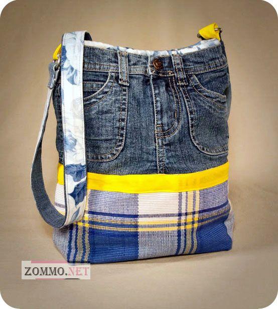 Сумка с джинсовыми вставками