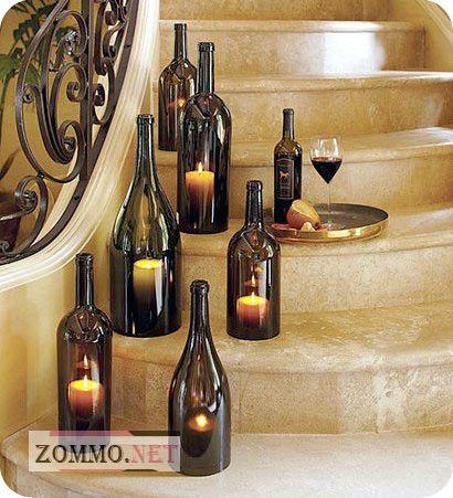 Романтическая атмосфера из стеклянных бутылок