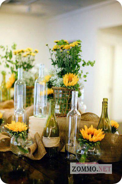 Горшки под цветы из стеклянных бутылок