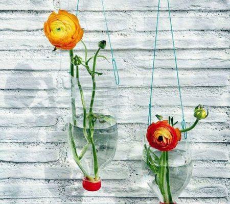 Горшок для цветов из пластиковой бутылки