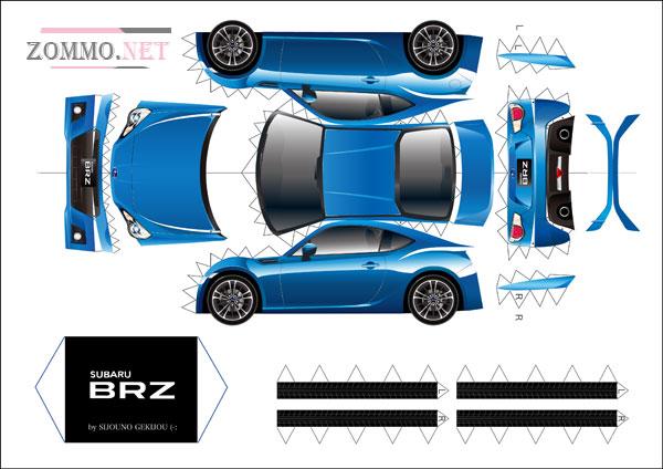 Subaru BZR из бумаги