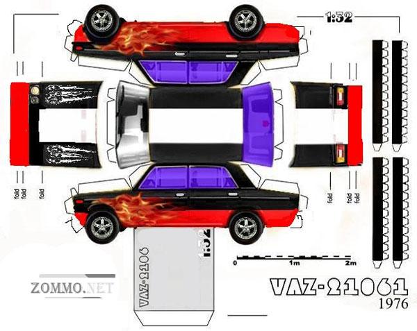 Машина ВАЗ 21061(1976)(тюнинг) из бумаги