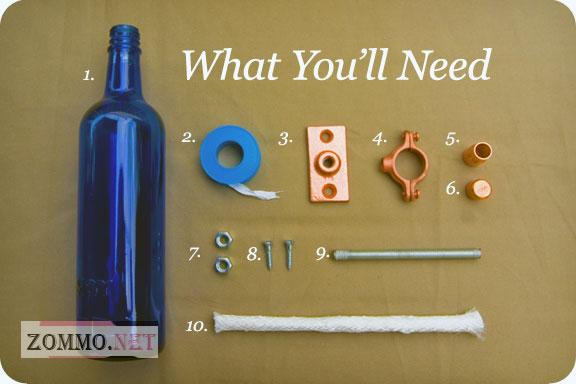 Инструменты и материалы для создания светильника из бутылки