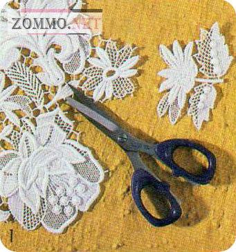 Цветы и листья из гипюра