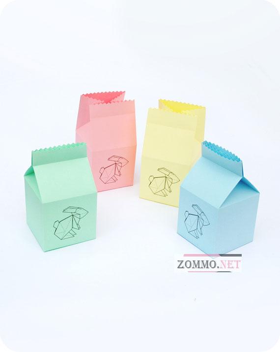 Подарочная коробочка с зайчиком из бумаги