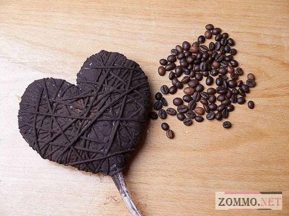 Сердце для влюбленных из кофе