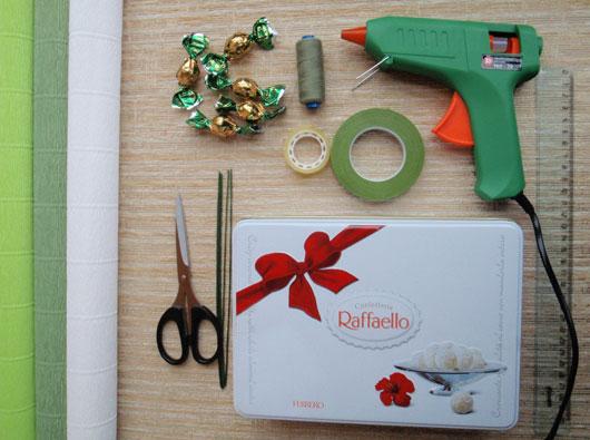 Материалы для создания букета из конфет