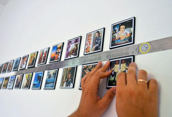 Фотоколлаж на стене, процесс работы