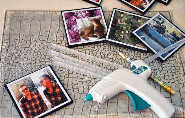 Фотографии и клеевой пистолет