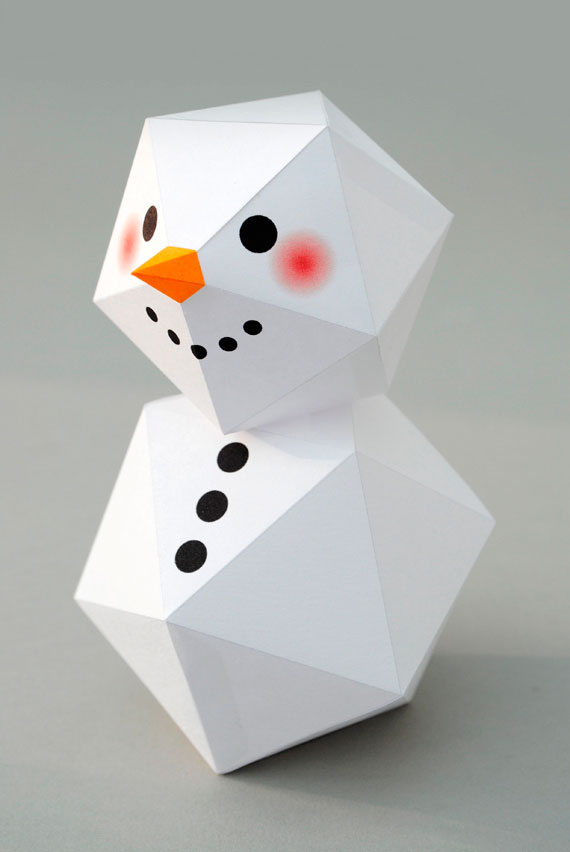 Снеговик из бумаги своими руками