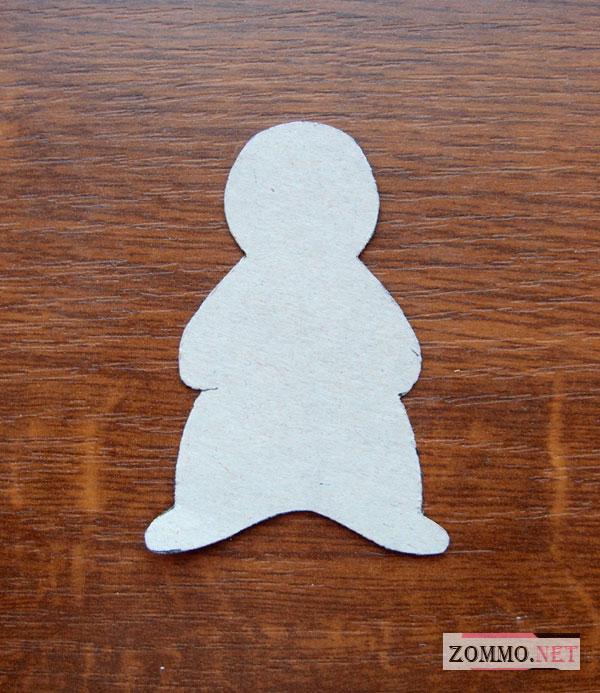 Выкройка снеговика из бумаги