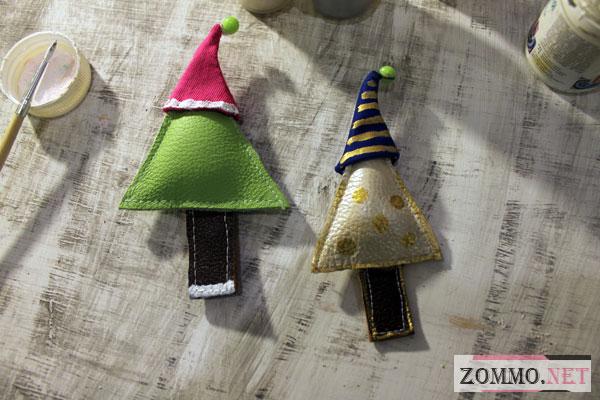 Новогодние игрушки из кожи