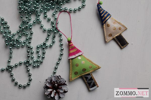 Новогодние елочные игрушки из кожи