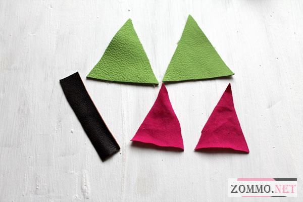Разноцветные треугольники из кожи