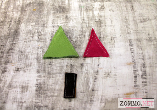 Треугольнички из кожи