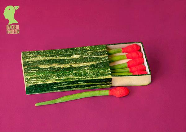 Коробок спичек из овощей и фруктов