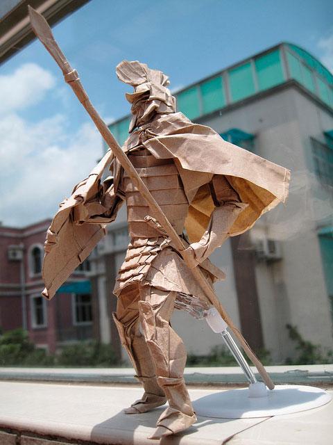 Подборка потрясающих оригами фигурок Воин Спартак