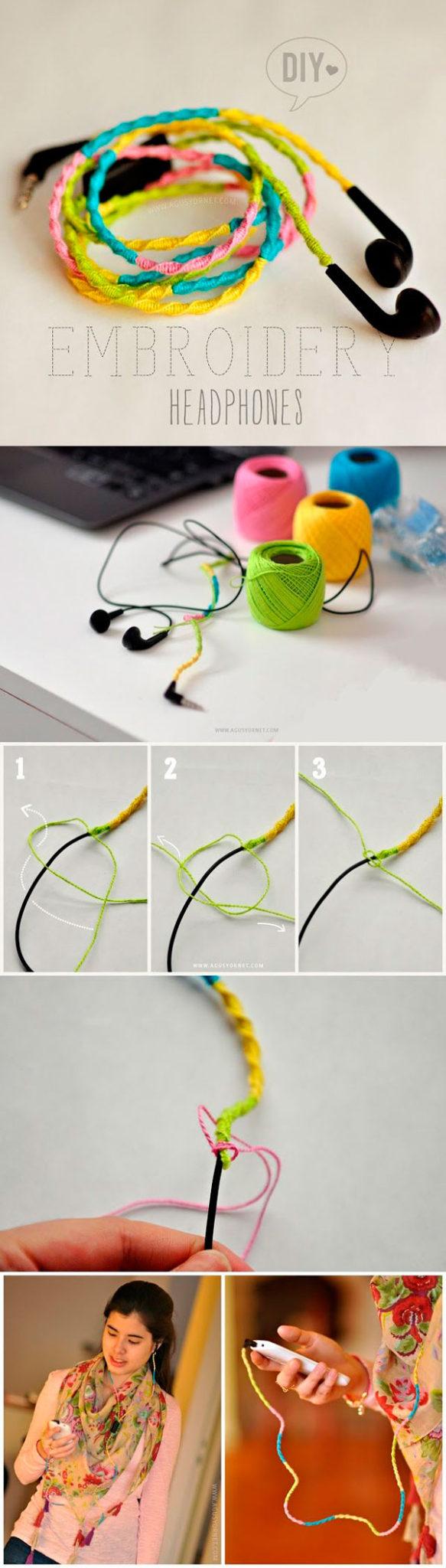 Разноцветные наушники с проводом из мулине