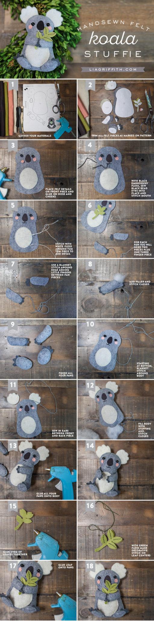 Как сделать коалу из фетра