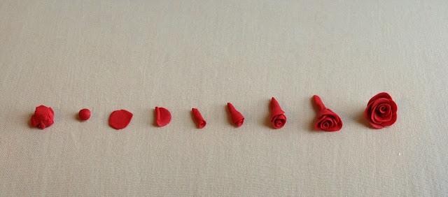 Букет из полимерной глины-как делать розу 2