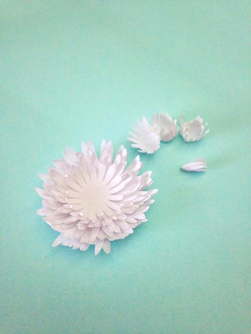 Хризантемы из бумаги-склеенный низ цветка