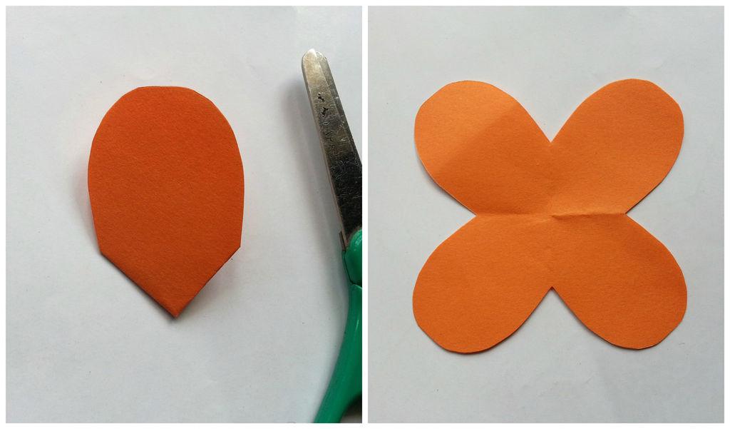 Камелии из бумаги-обрезаем нижнюю часть