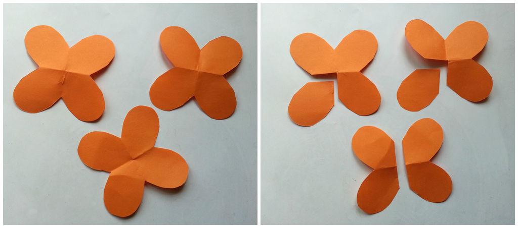 Камелии из бумаги-обрезаем лепестки