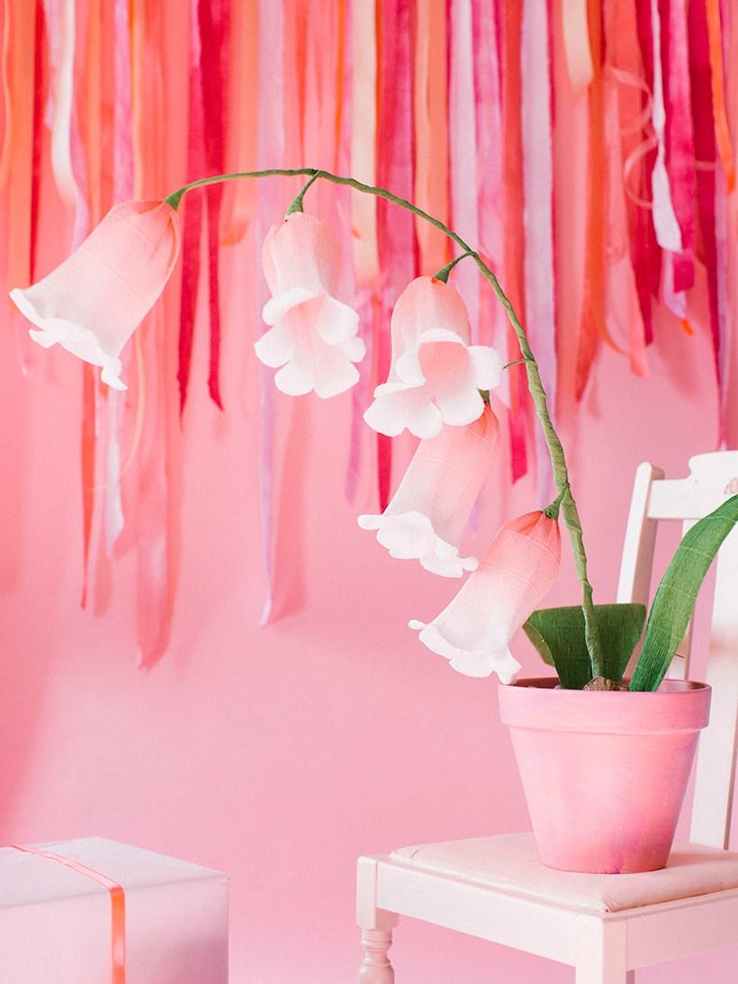 Колокольчики из бумаги розовые