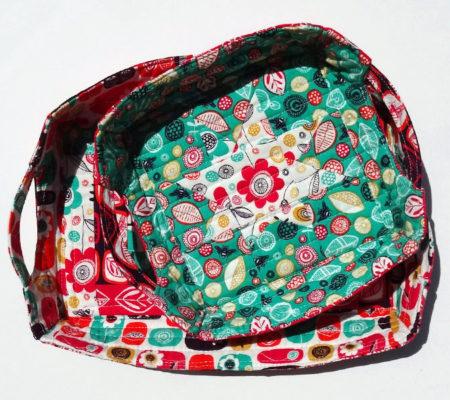 Корзинка из ткани в стиле пэчворк