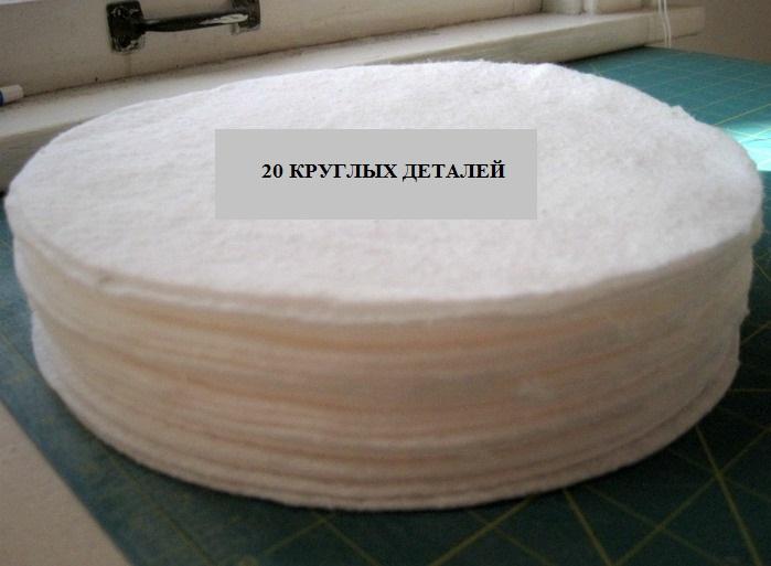 20 кругляшек из синтепона для коврика